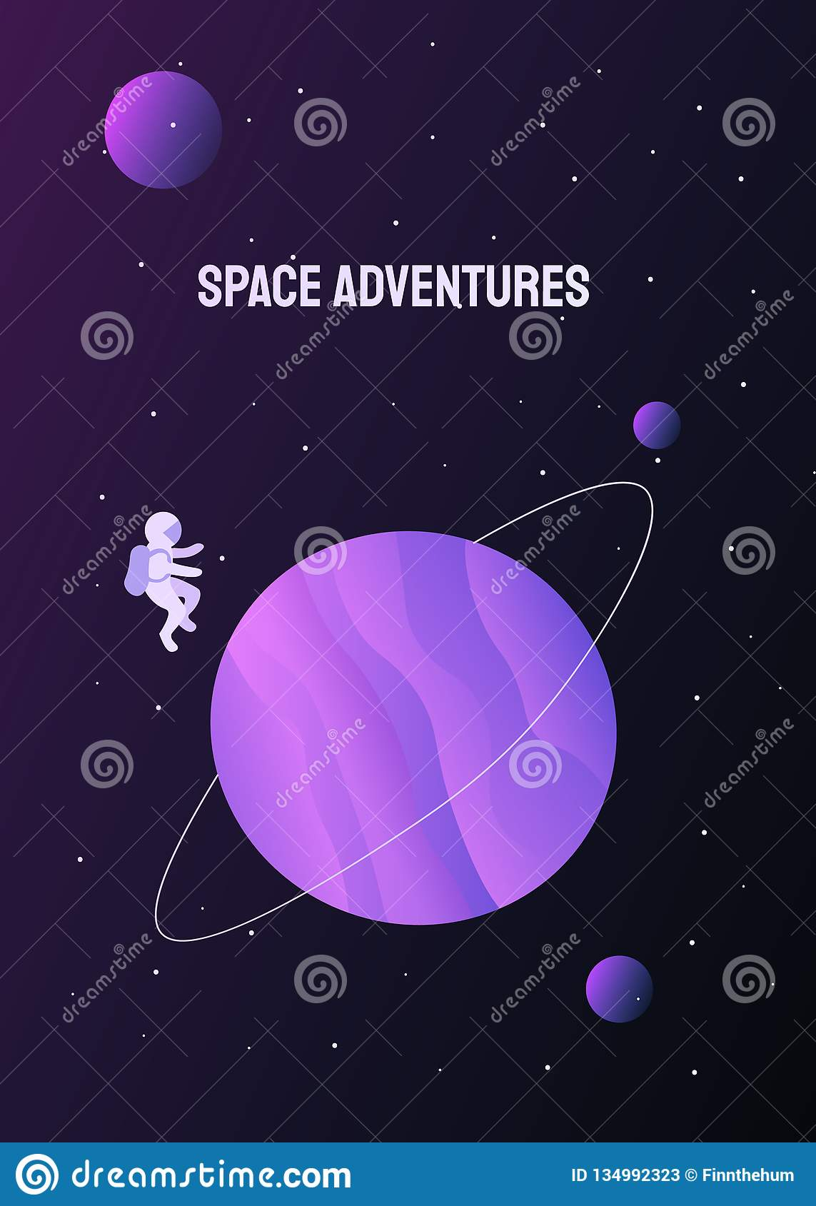 Astronaut in outer space and colored planets around him