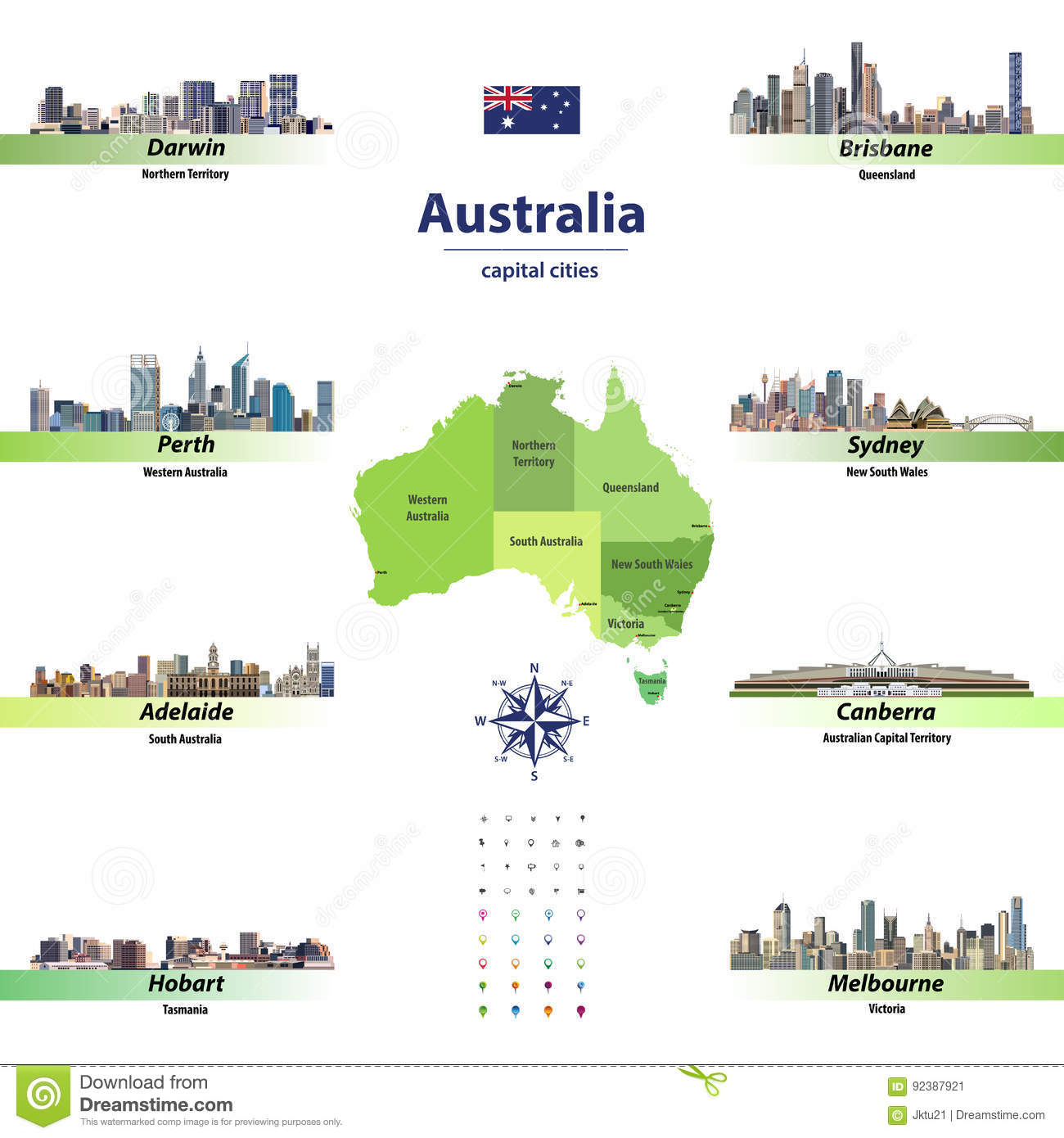 Map Of Australia With States And Territories And Capital Cities.Vector Illustration Of Australia States Map With Skylines Of Capital