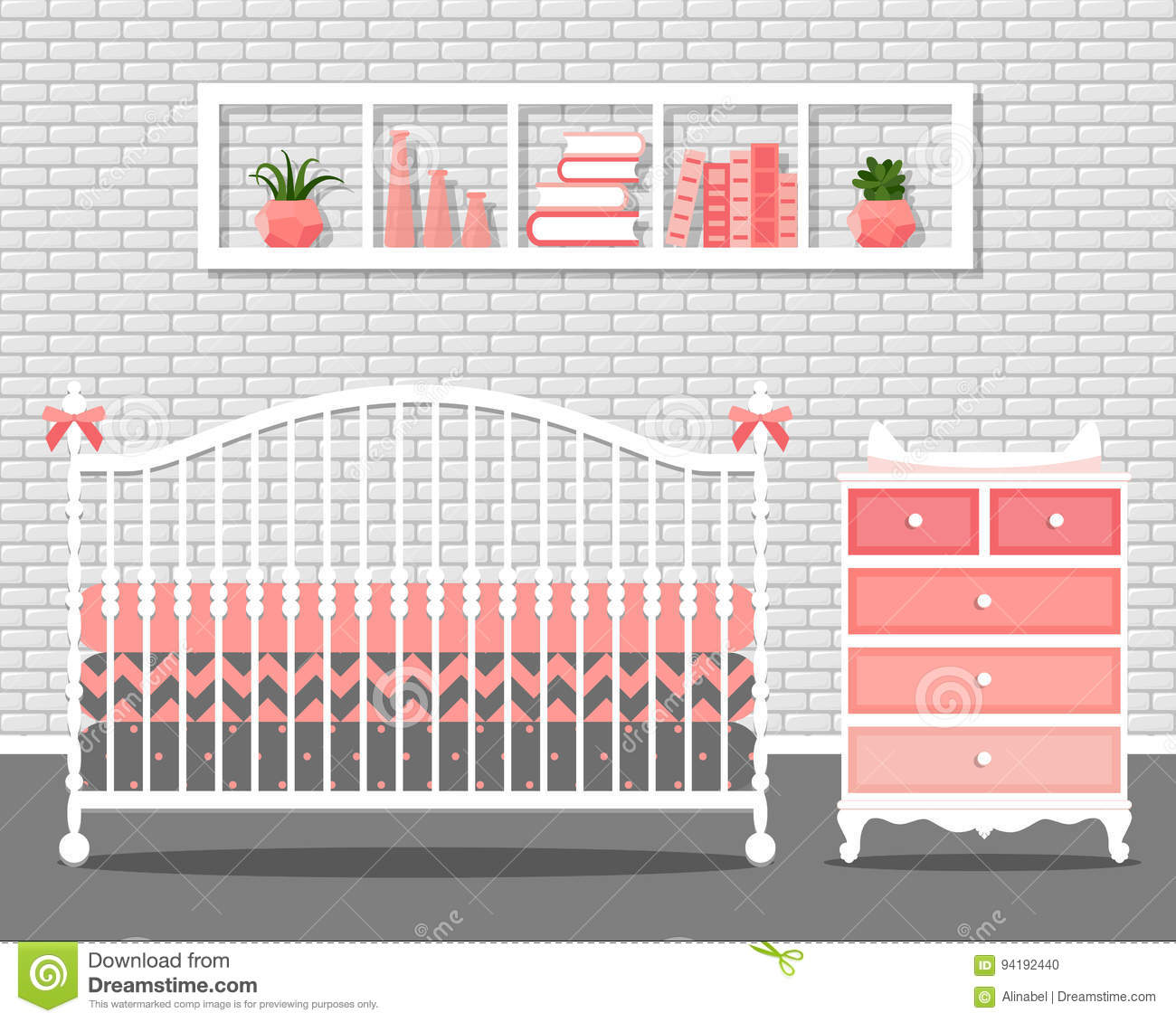 Vector Illustration With Baby Bedroom Stock Vector - Illustration of ...