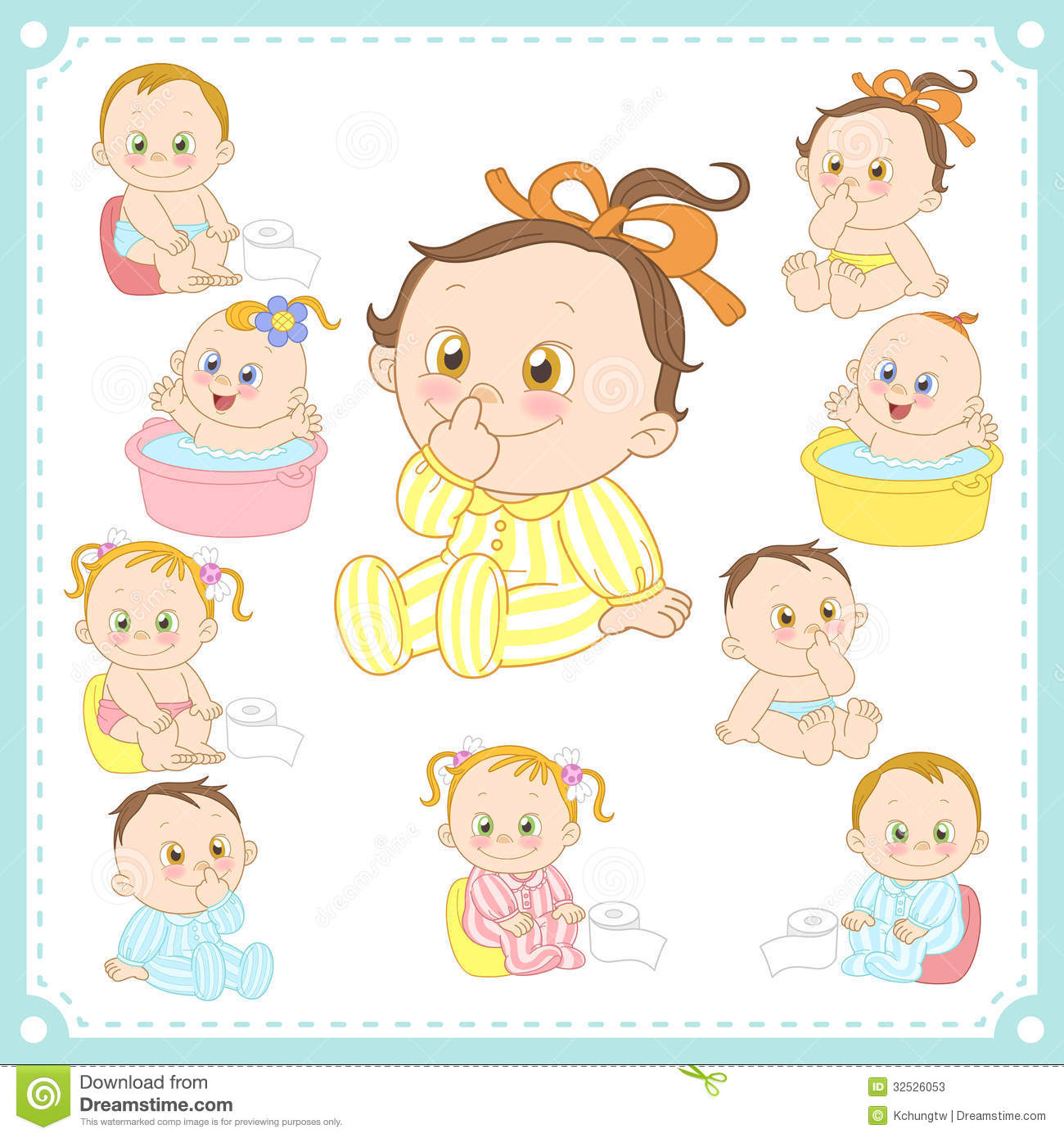 Vector Illustration Of Baby Boys And Baby Girls Stock Photos - Image ...