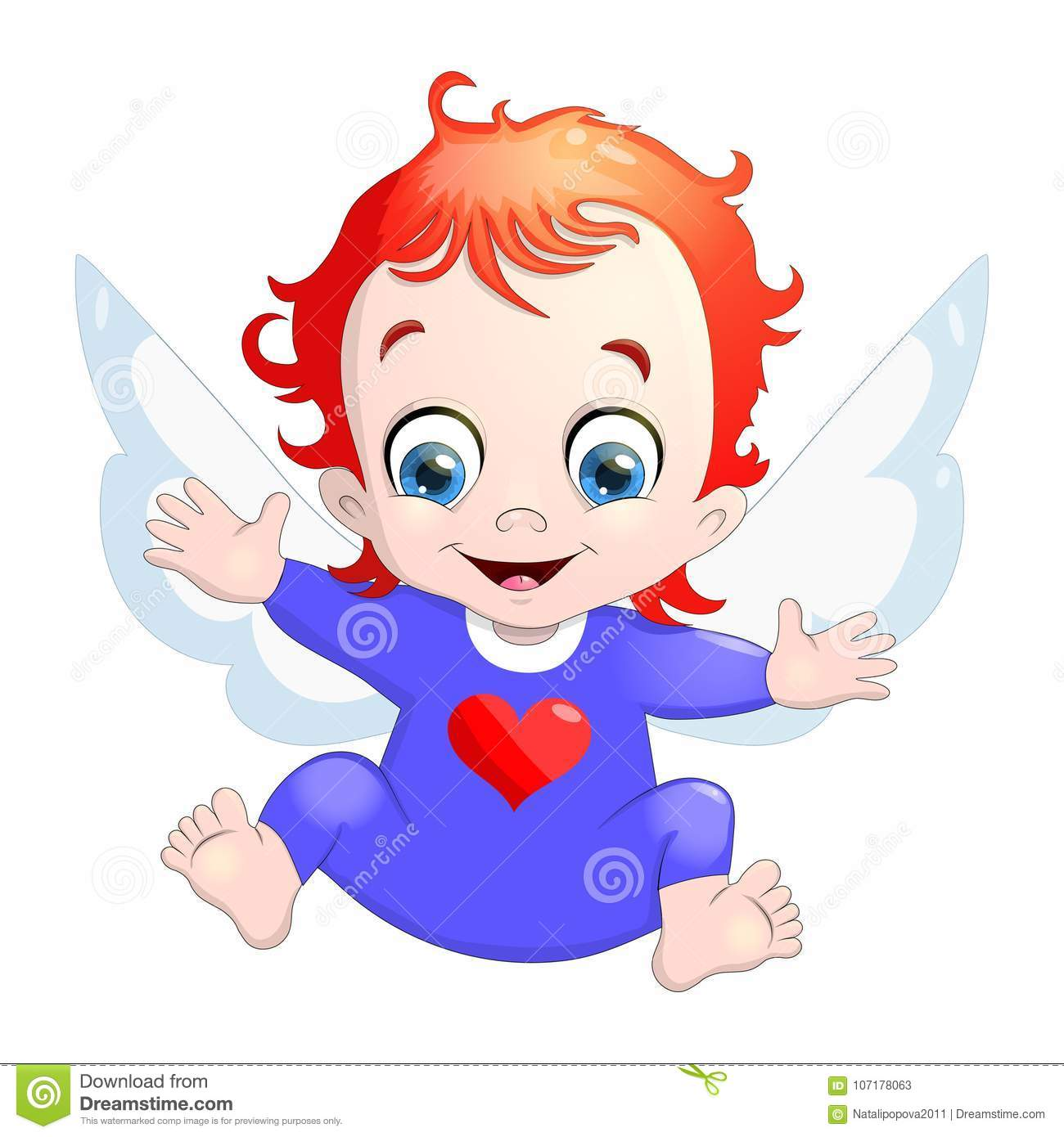 Vector Illustration Of A Baby Cupid With A Heart Cartoon