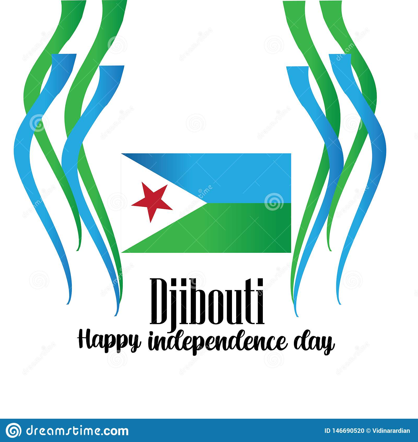 Vector illustration of a Background for Djibouti Independence Day Design. - Vector