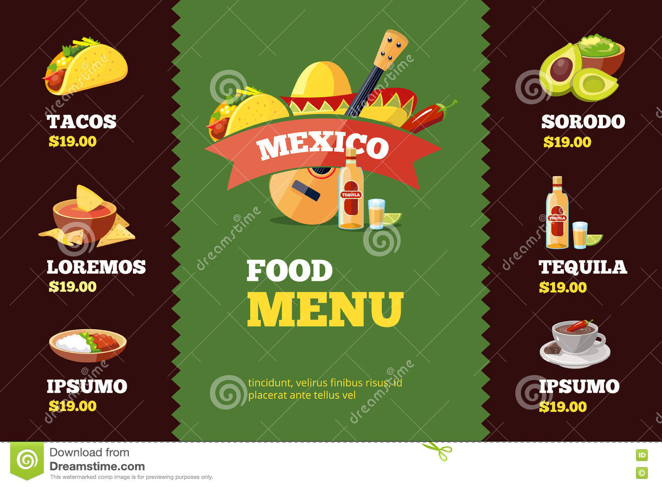 vector illustration of background restaurant menu template with