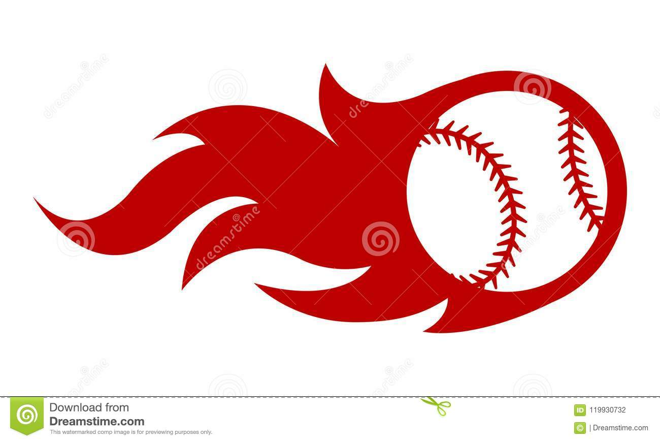 Vector illustration of baseball ball with simple flame shape.