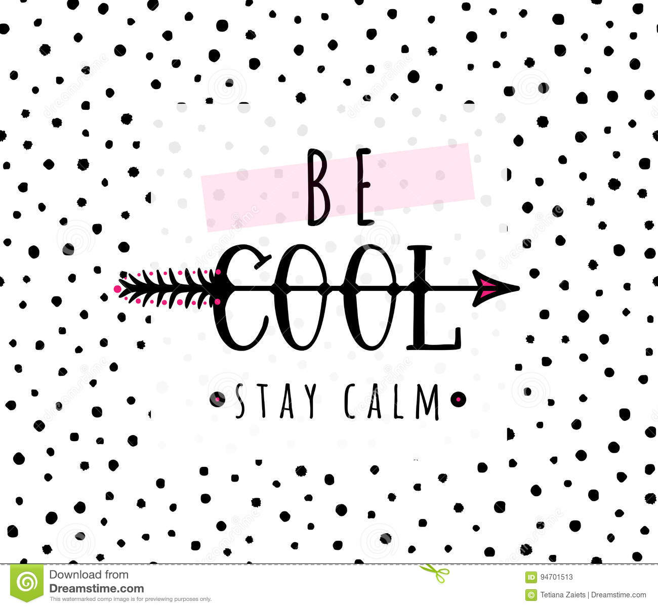 Vector Illustration Of Be Cool Stay Calm Inspirational Quote Background Stock Vector Illustration Of Icon Cartoon 94701513
