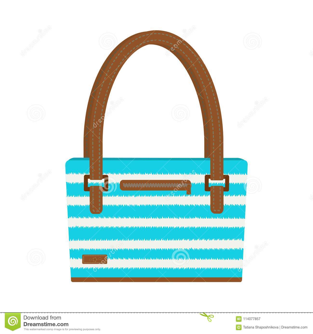 f60b5d81d Vector illustration of beach bag in blue and white stripes with leather  handles and zigzag. Decorated with stitch and flowers. Isolated on white  background.