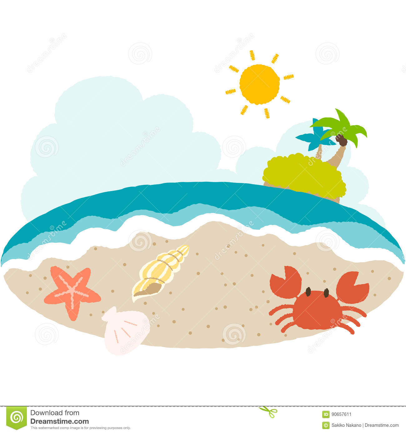 A vector illustration of beach side with cute taste