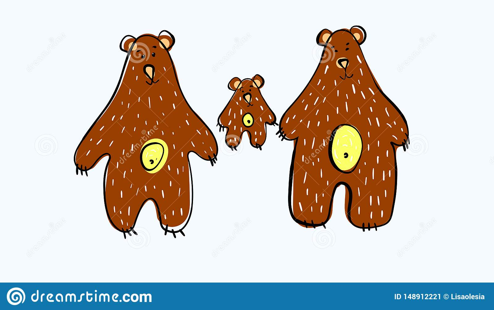 Vector illustration. Bear family. Three brown bears. Daddy bear Mother bear and little bear. For creating clothing design