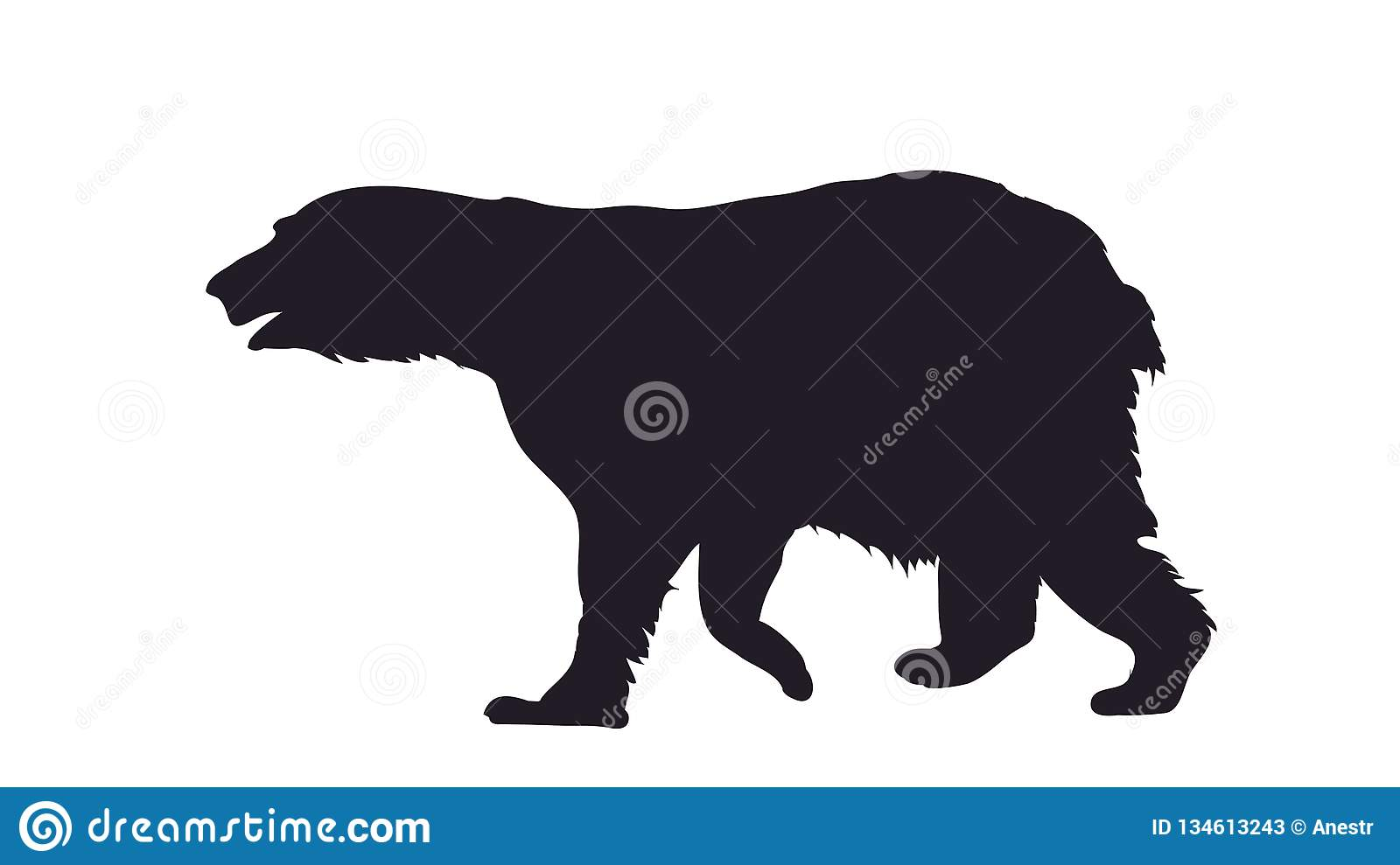 Vector illustration of a bear that stands, drawing silhouette