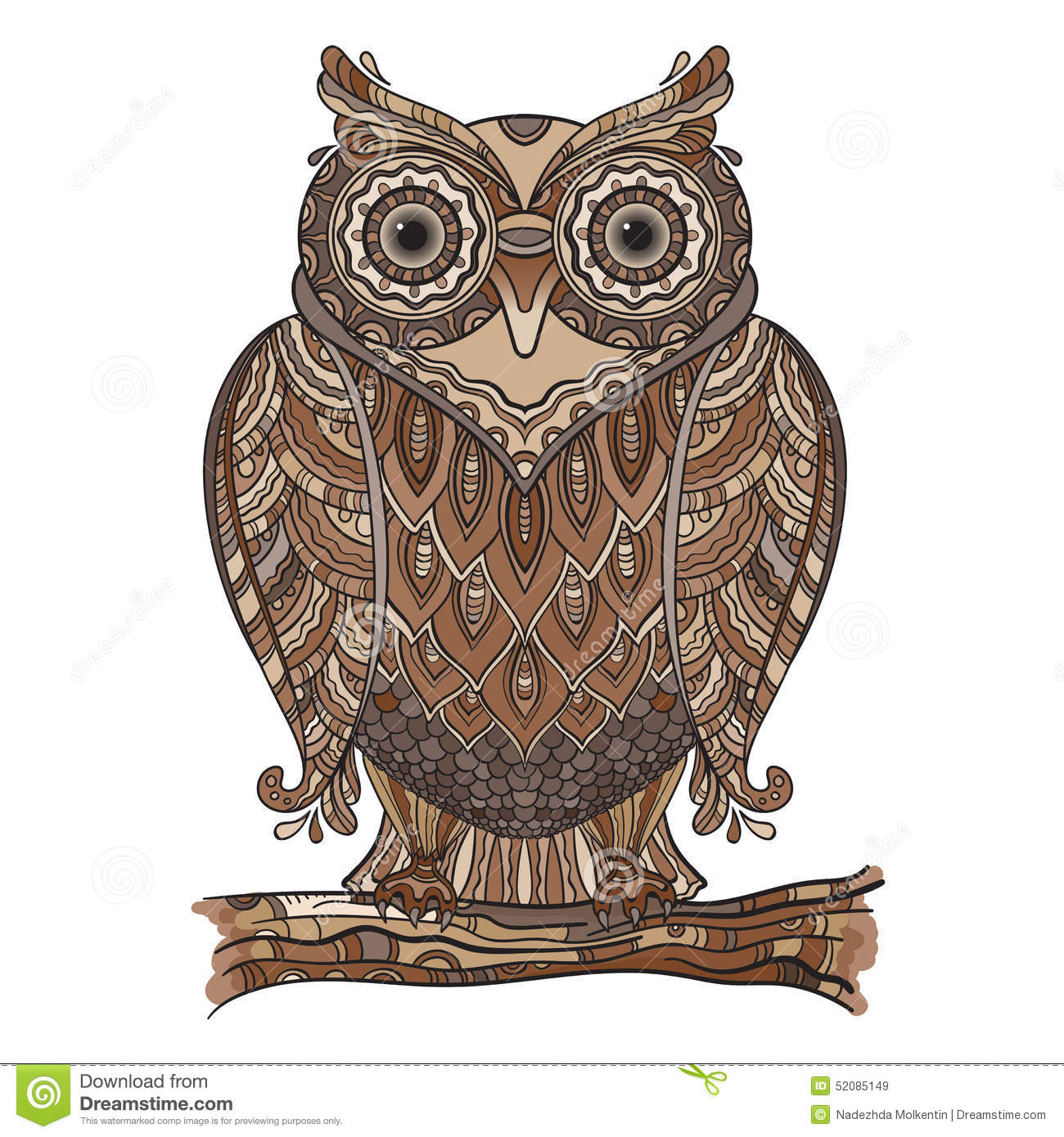 Decorative Owls Vector Illustration Of Beautiful