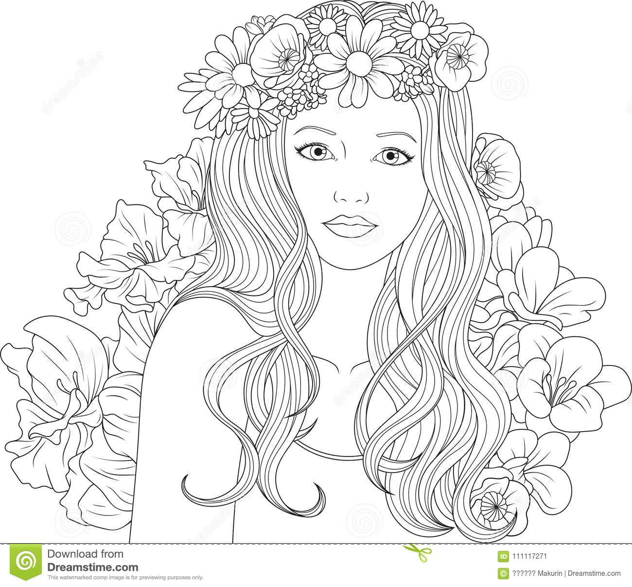 Beautiful Girl Coloring Pages Stock Vector - Illustration of beauty ...