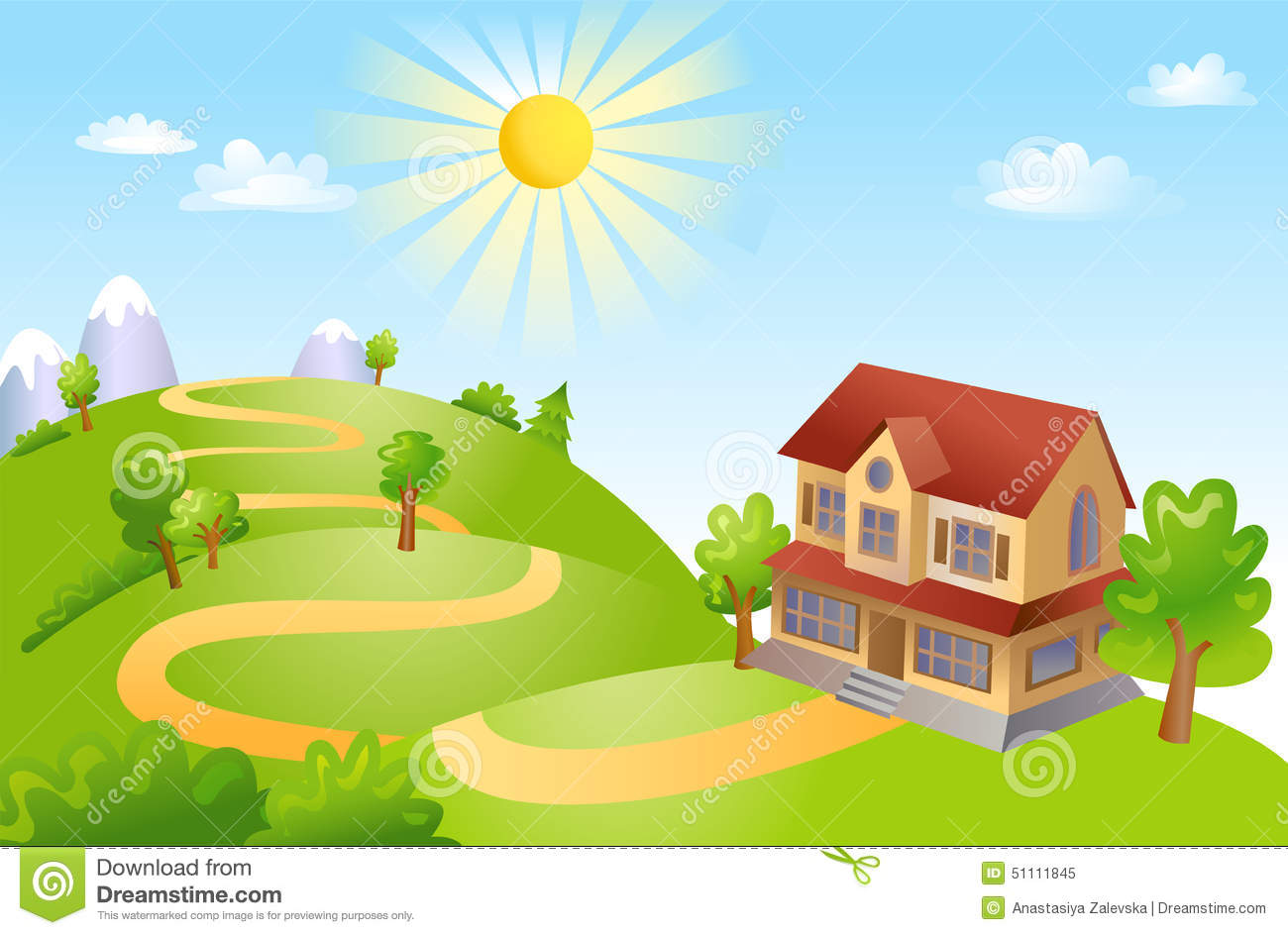 vector illustration beautiful landscape rural scene green field house trees sunny day 51111845