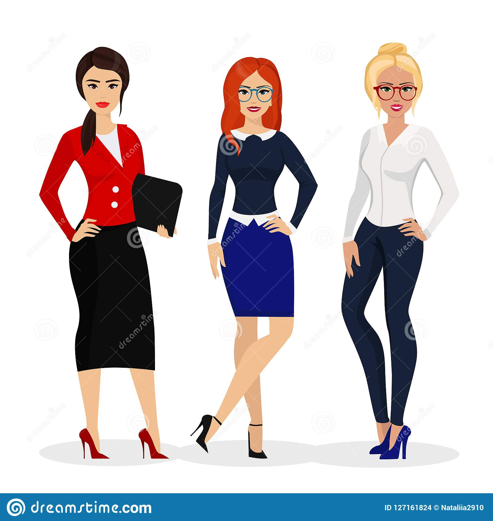 Vector illustration of beautiful successful businesswoman. Office girls workers in flat cartoon style.