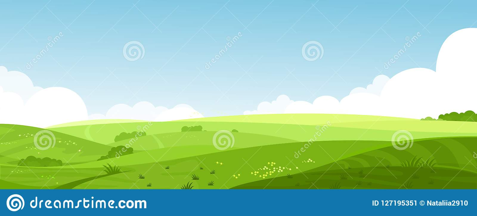 Vector illustration of beautiful summer fields landscape with a dawn, green hills, bright color blue sky, country