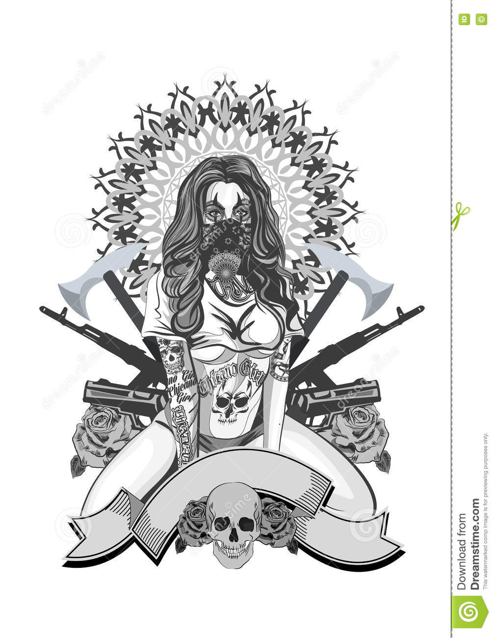 Vector Illustration Of A Beautiful Woman Chicano Tattoo