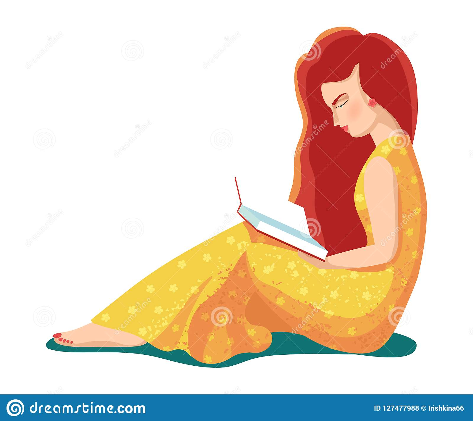Vector illustration of beautiful young girl - woman - with open books. Flat design of students. People learn, reading