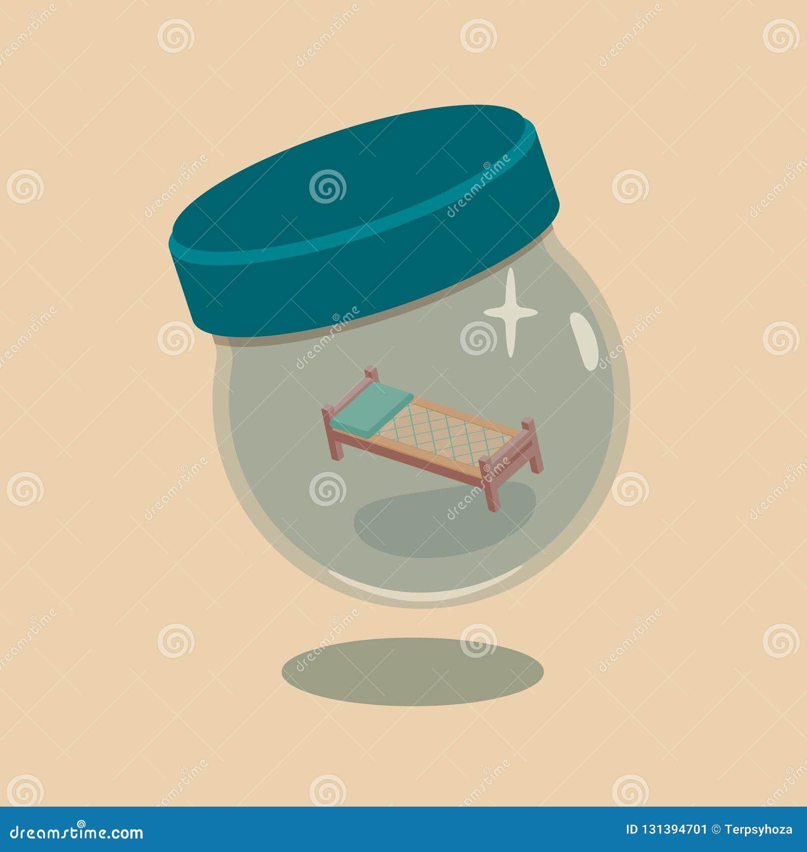Vector Illustration Of Bed In Vial Stock Vector - Illustration of