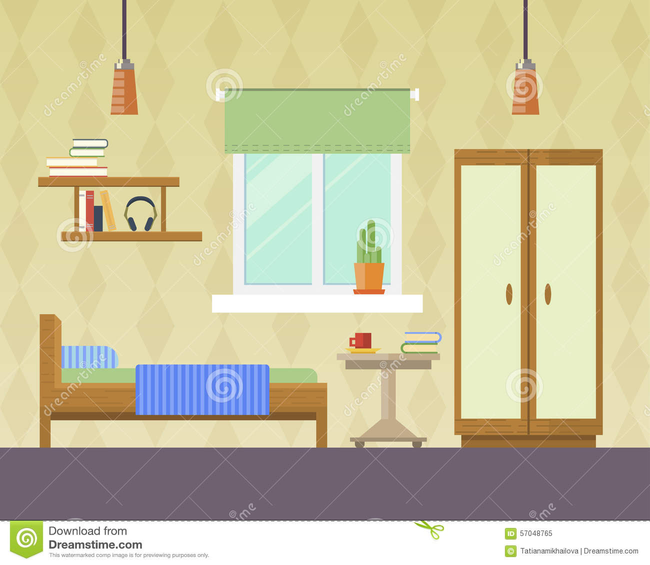 Vector illustration of bedroom stock vector image 57048765 for Room interior design for boys