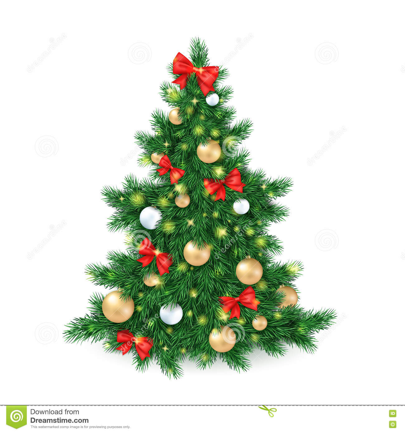Vector illustration of big christmas tree decorated white Large decorated christmas trees