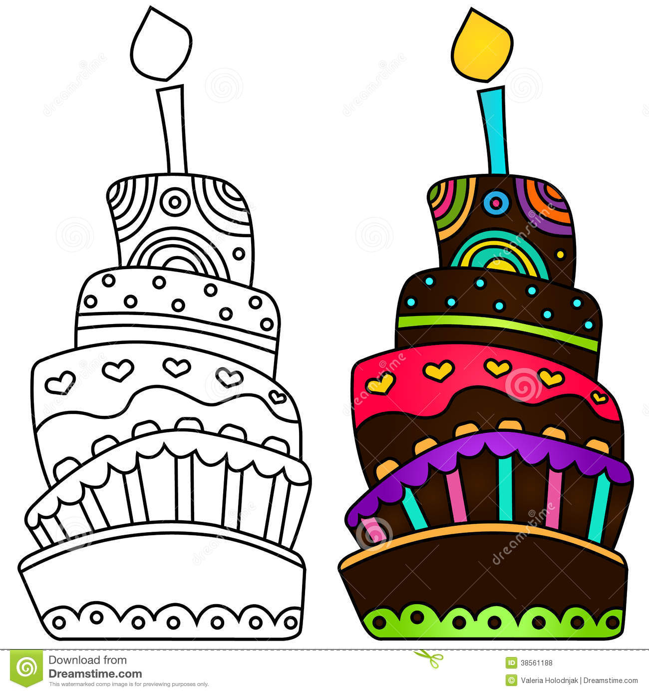Vector Illustration Of Birthday Cake Stock Illustration ...