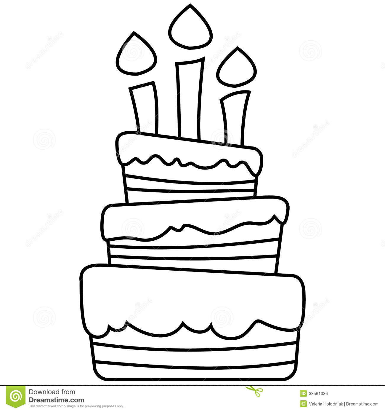 Vector Illustration Of Birthday Cake Stock Illustration ... for Black And White Birthday Candle Clip Art  59nar
