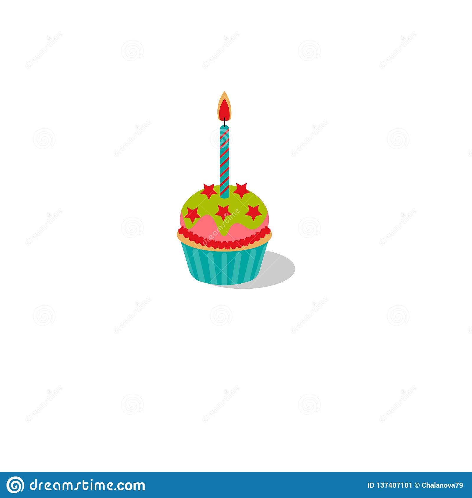 Vector illustration. Birthday cupcake with burning candle. Cupcake with icing and stars