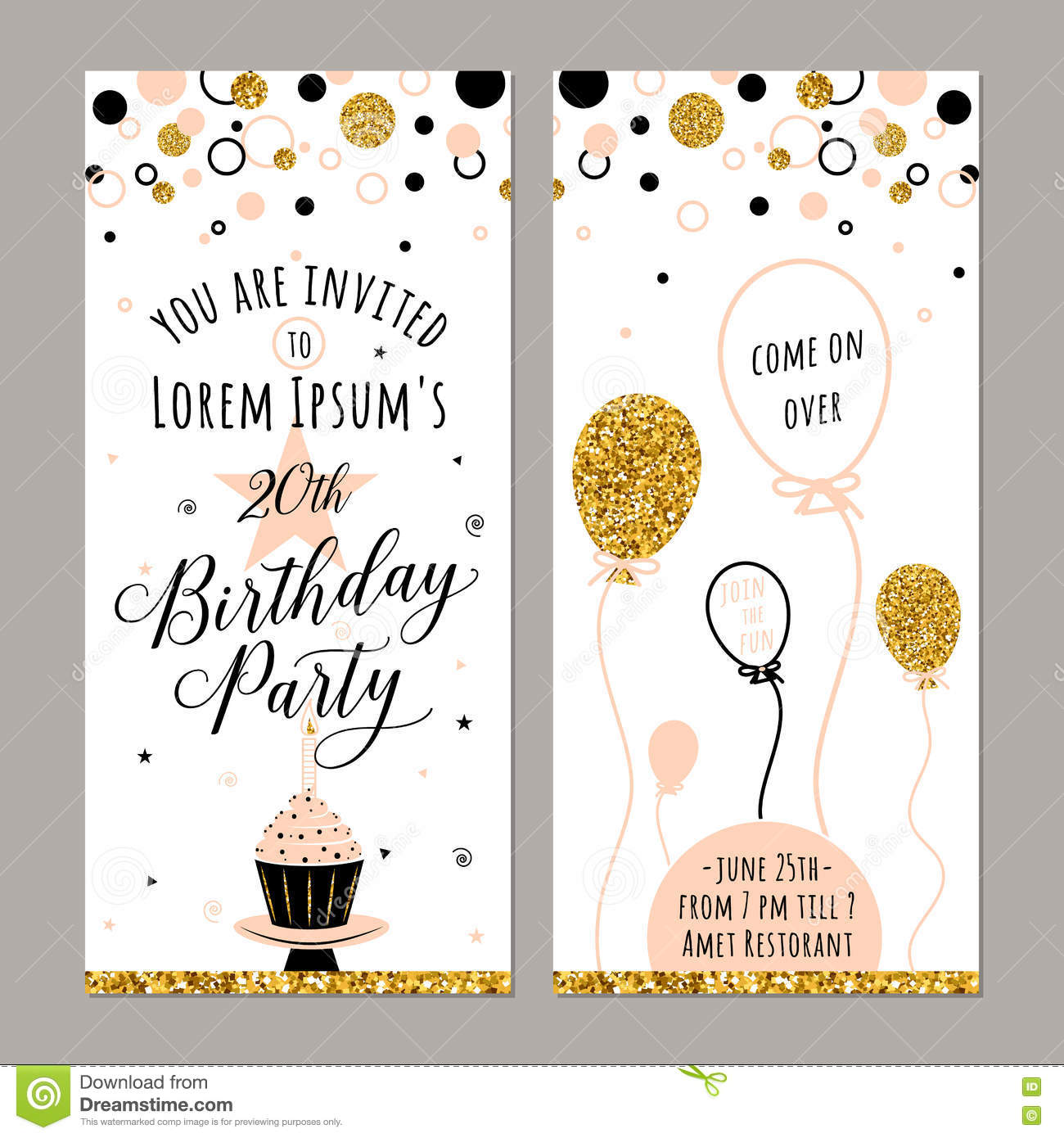 Vector Illustration Of Birthday Invitation Face And Back Sides