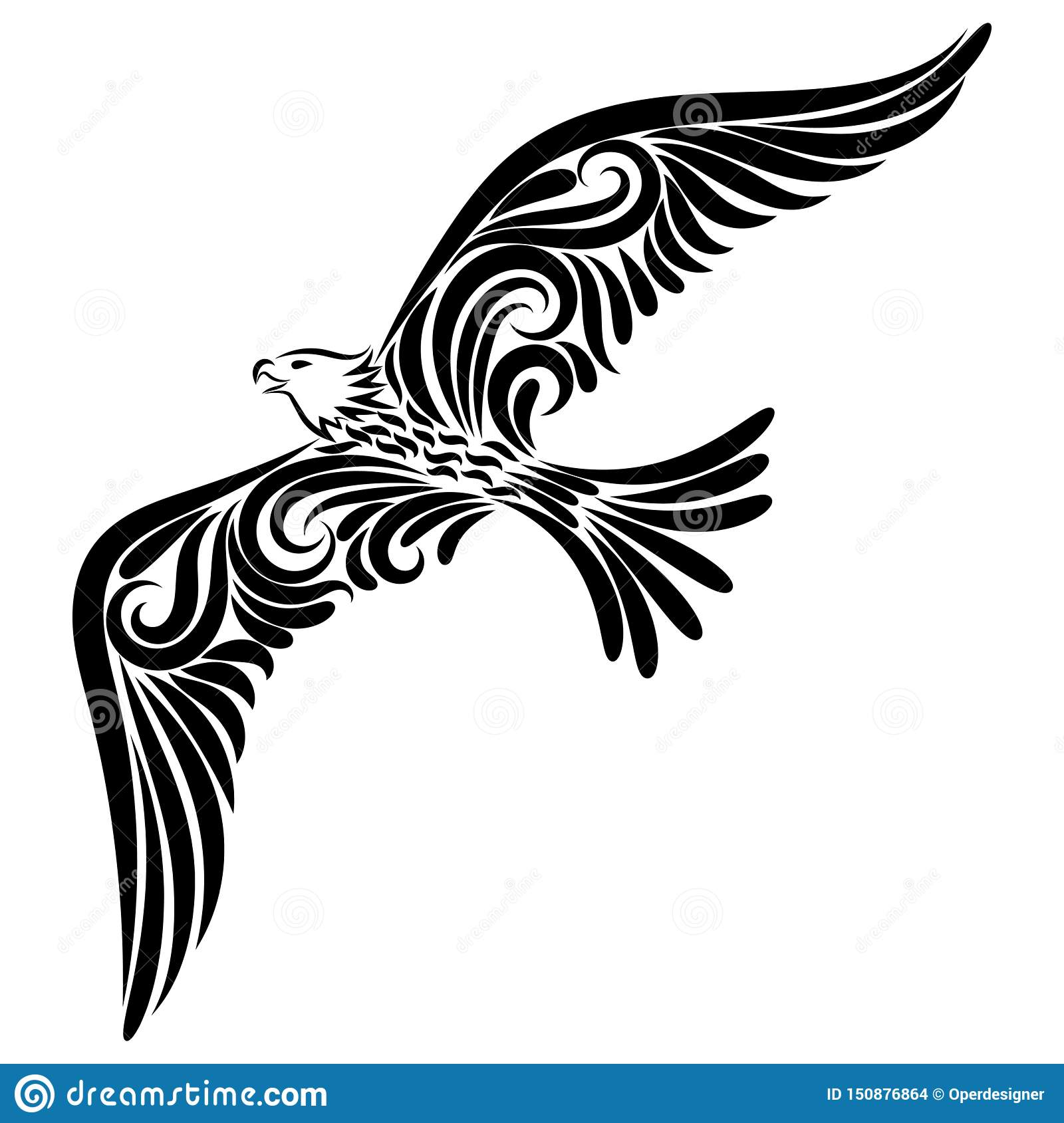 Eagle From The Black Line Ornament Stock Illustration