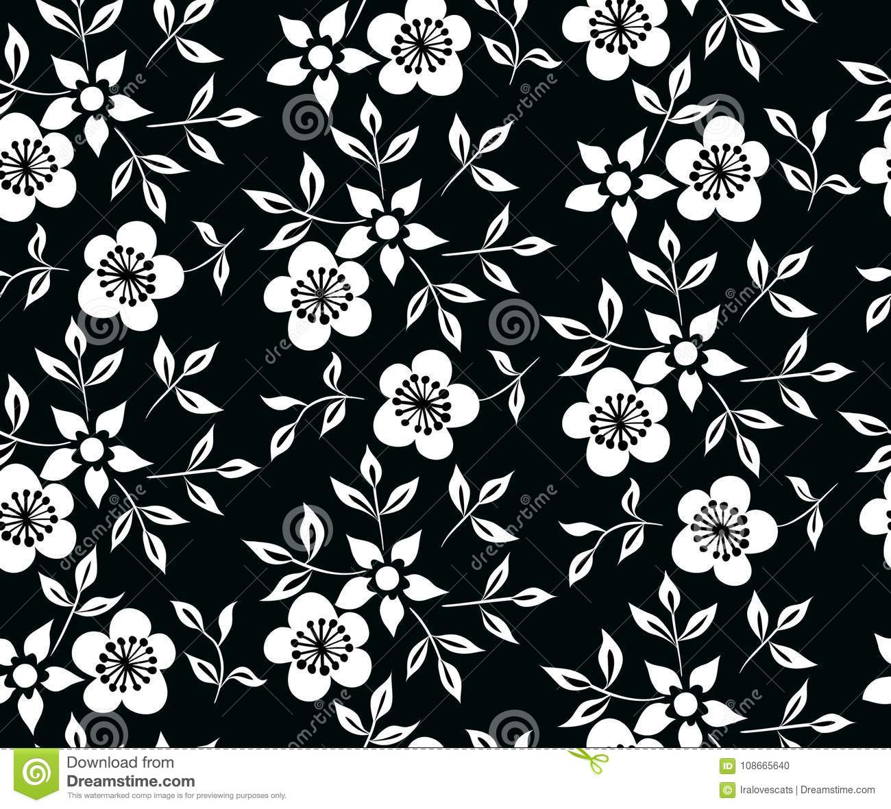 Vector Illustration Of Black And White Flowers And Leafs Ornament