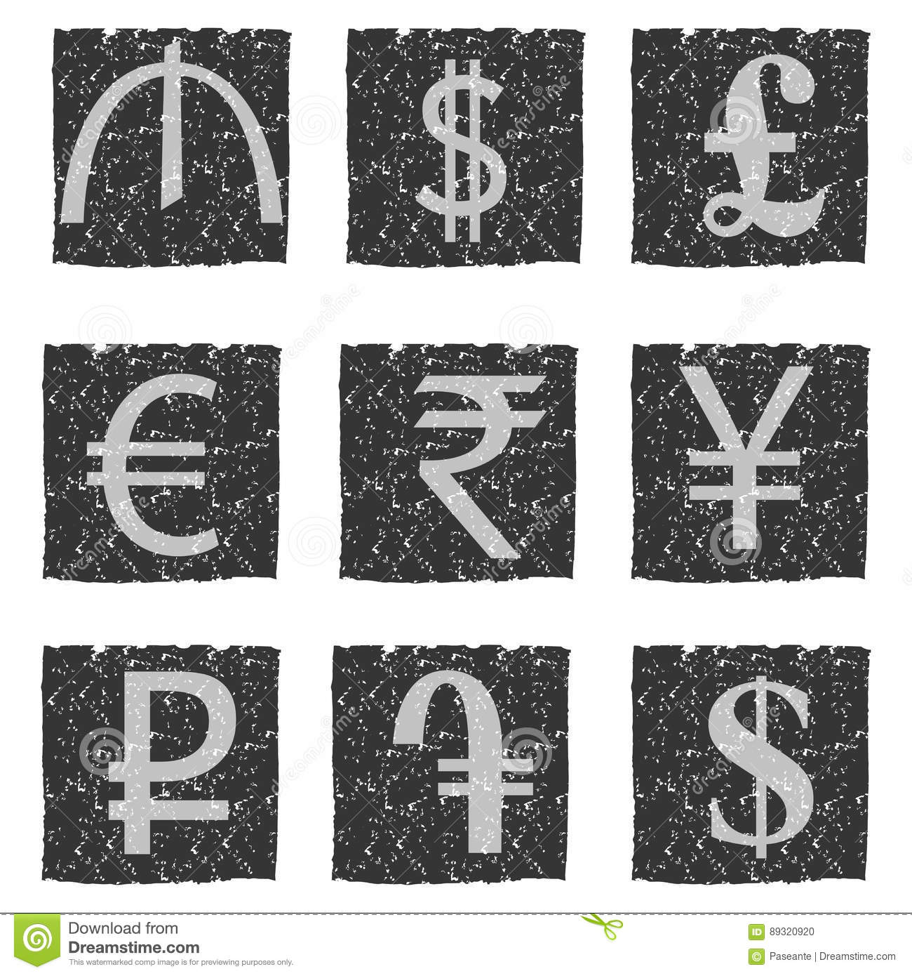Vector Illustration Of Black And White Grunge Icons With Symbols Of