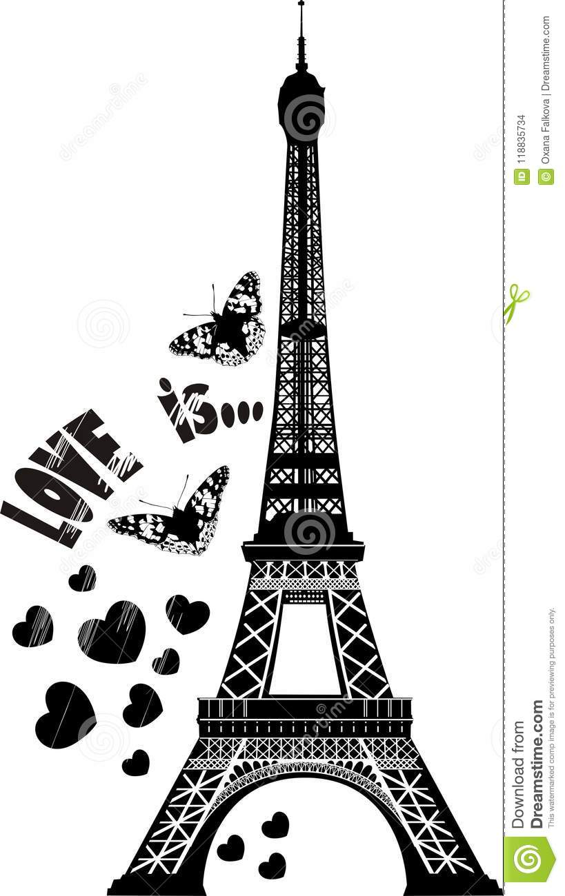 Eiffel tower stock vector illustration of background