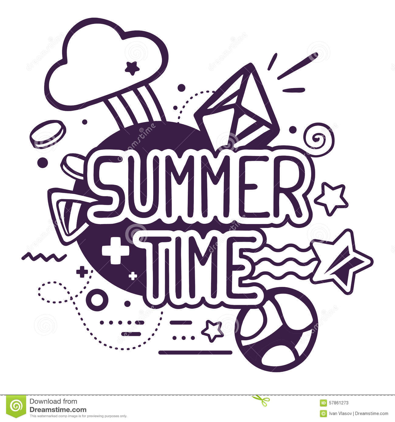 Vector Drawing Lines Quotes : Vector illustration of black and white summer time quote