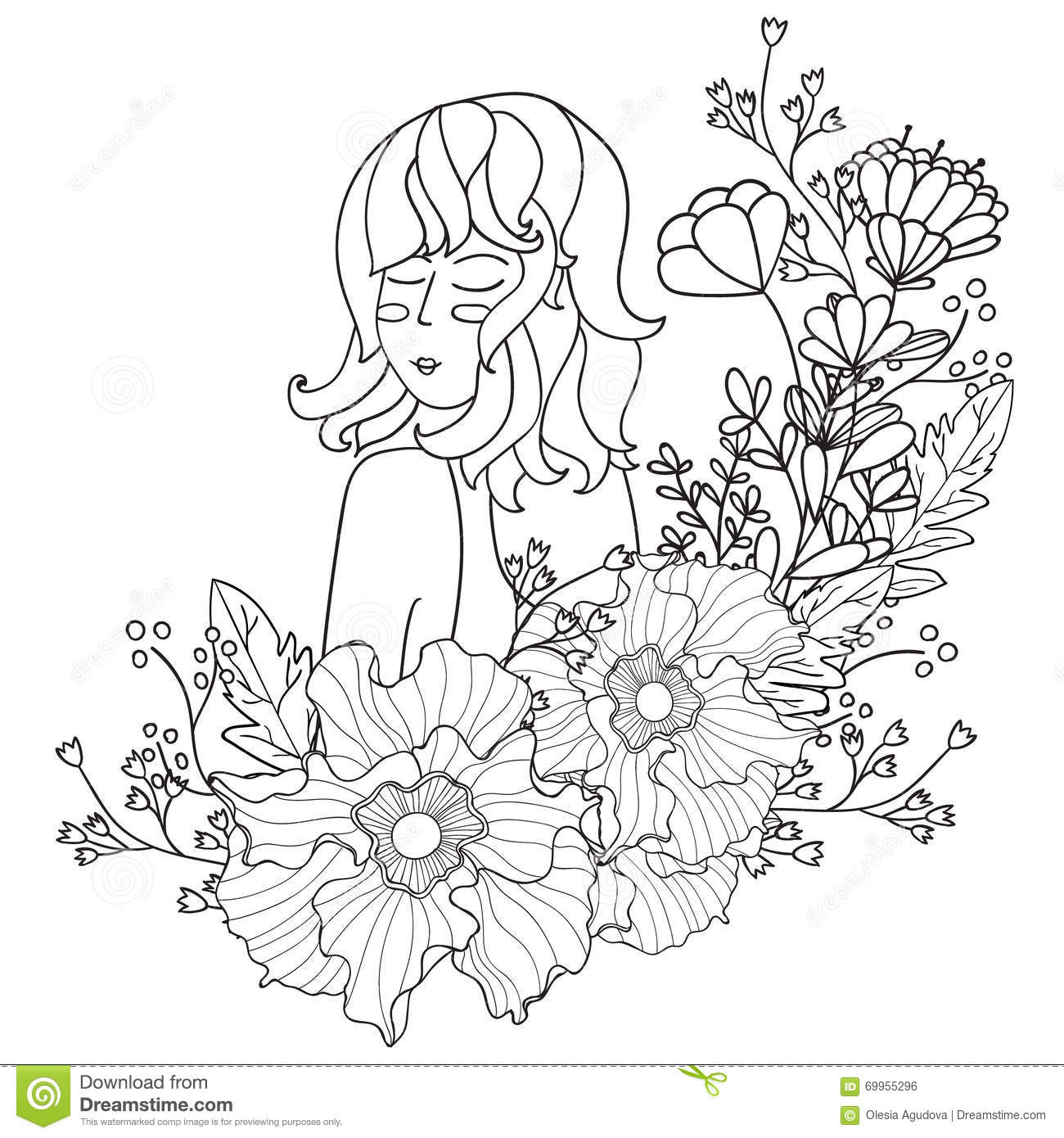 Download Vector Illustration Black And White Woman With Flowers Coloring Pages For Adults Stock