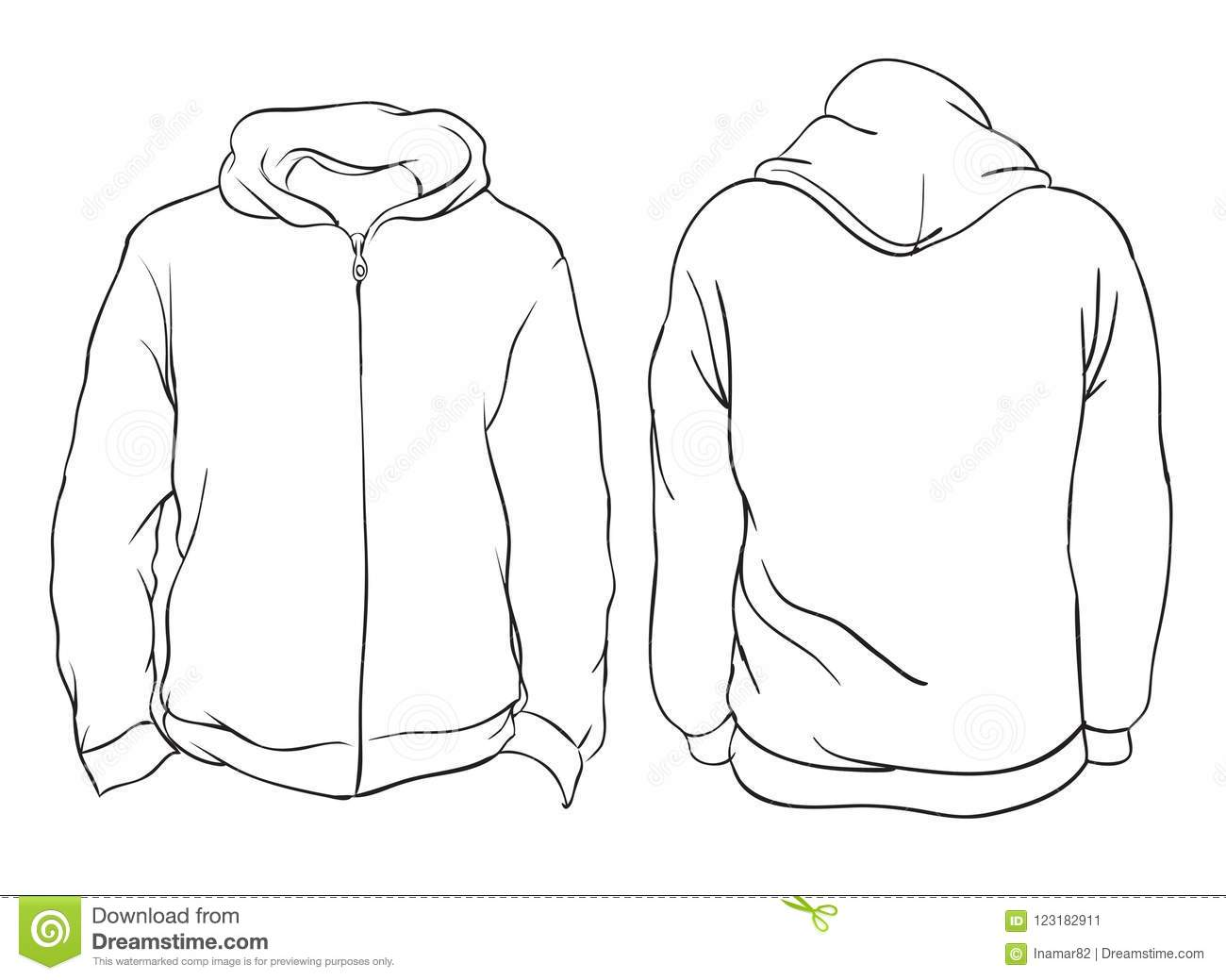 vector illustration  blank hoodie jacket front and back views  i stock vector