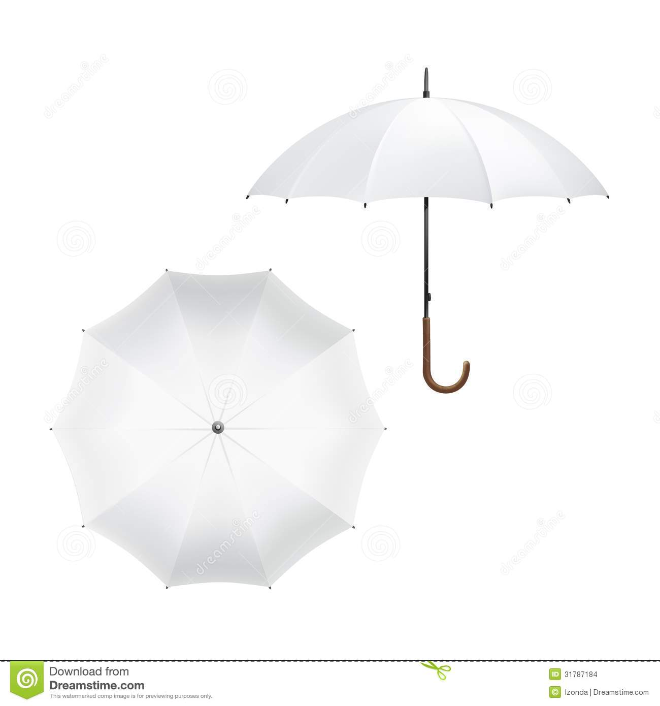 Vector Illustration Of Blank White Umbrella Stock Vector