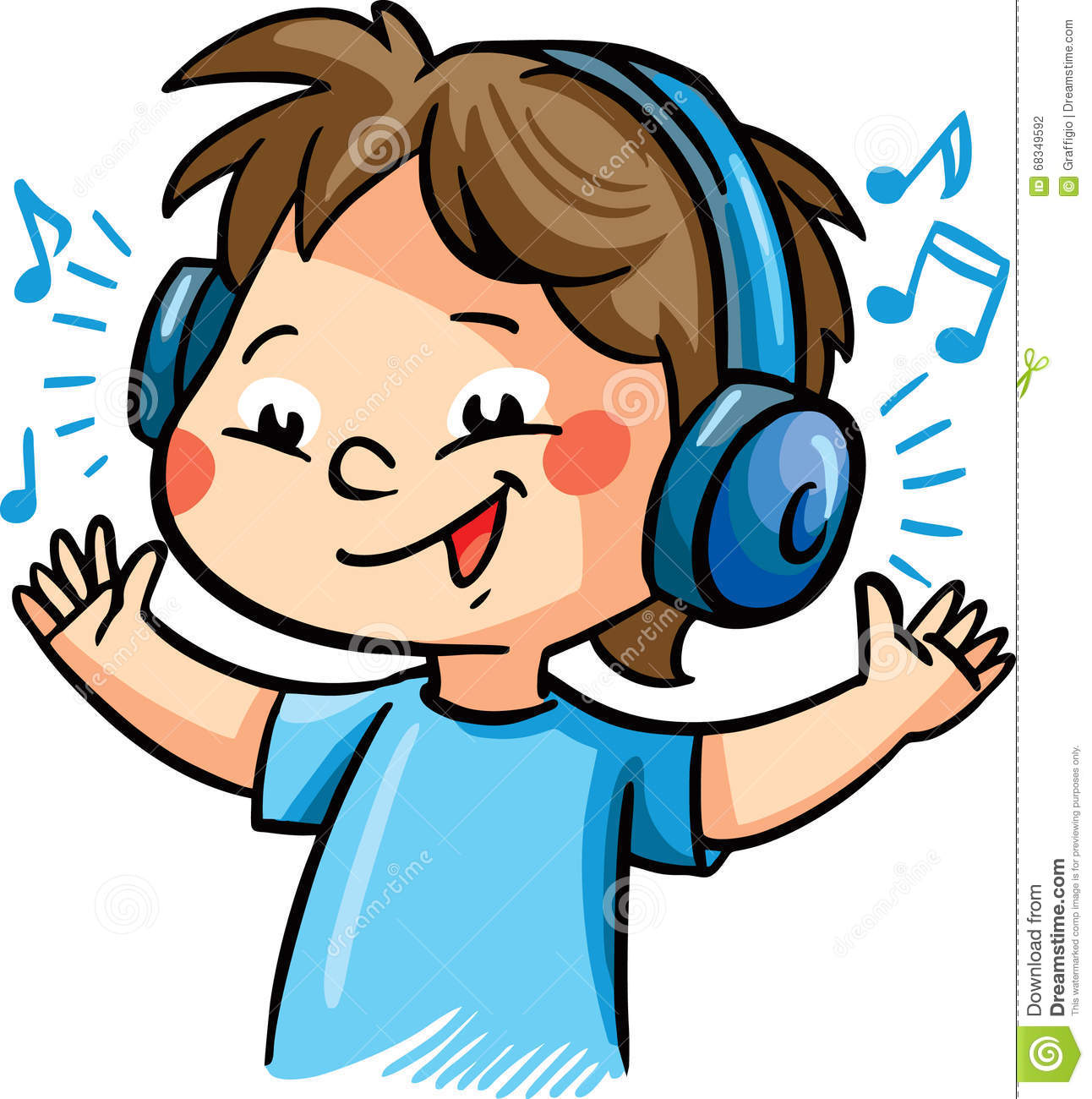 vector illustration with a boy listening music illustration 68349592