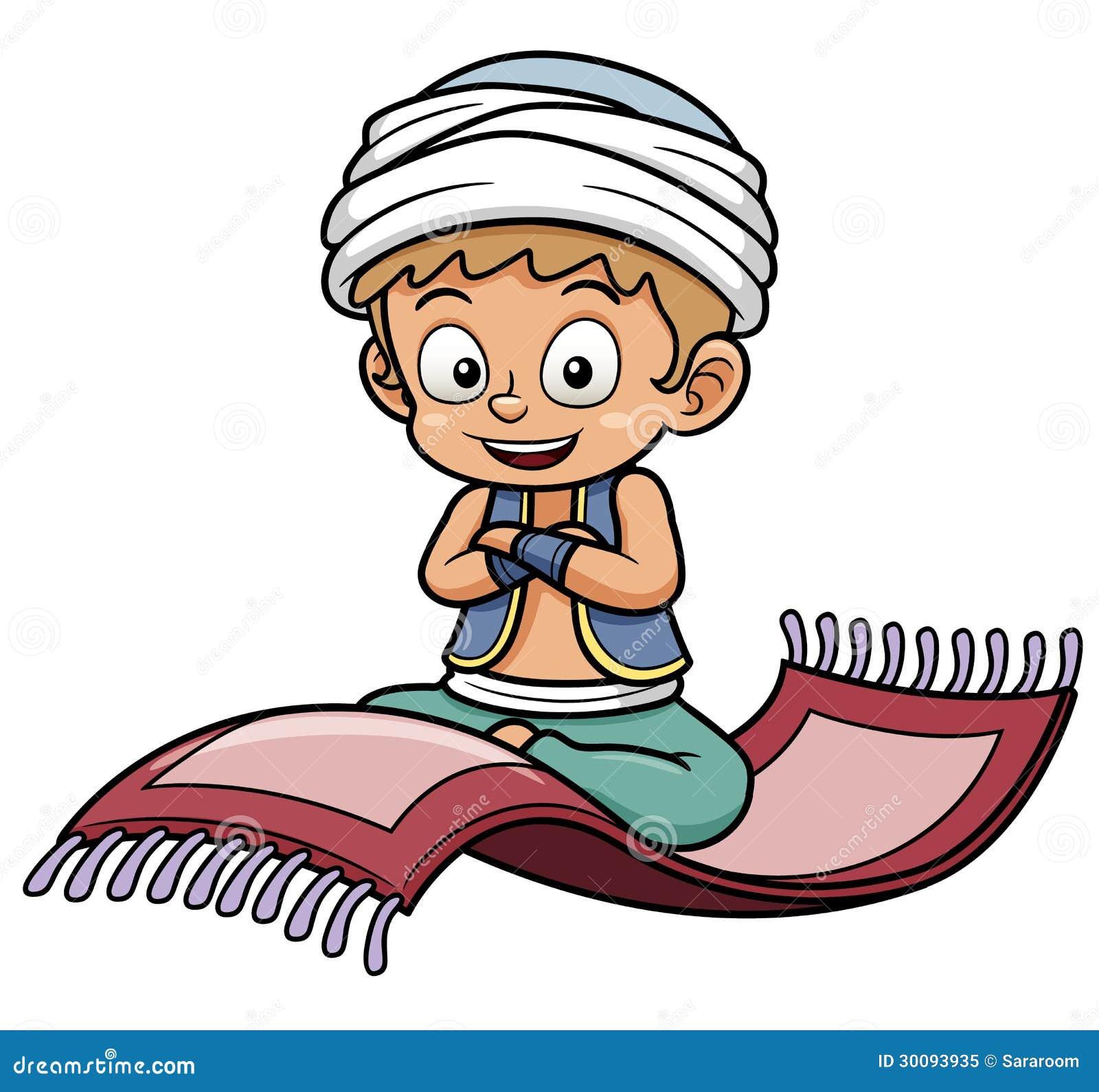 Boy Sitting On Flying Carpet Royalty Free Stock Photo
