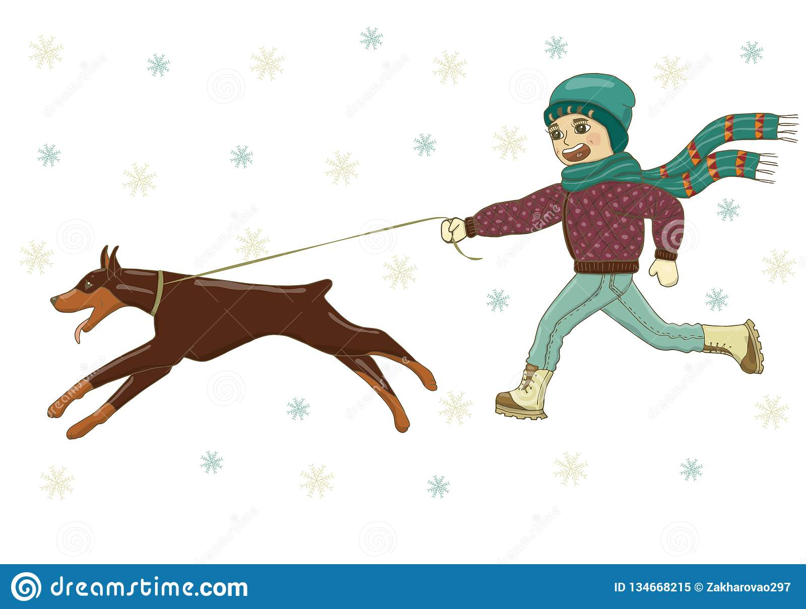 Vector illustration of a boy walking with a dog Doberman on the street in winter. In hat, in scarf, jacket, jeans, boots, mittens.