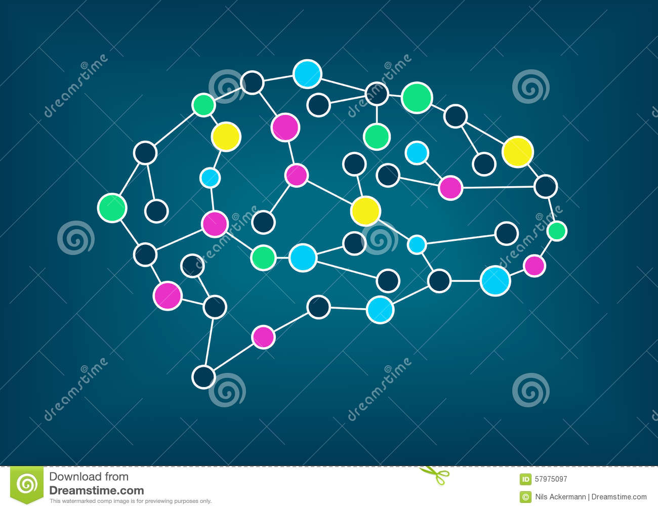 Vector illustration of brain. Concept of connectivity, machine learning, artificial intelligence