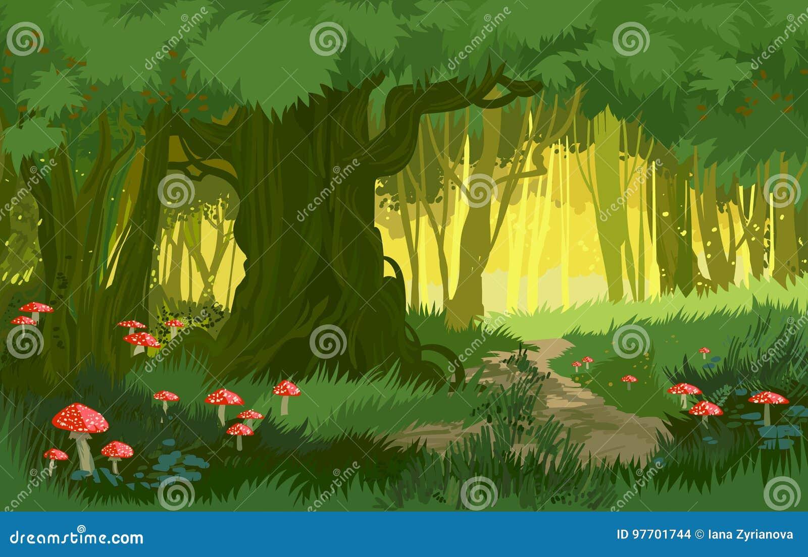vector illustration bright green summer magical forest vector