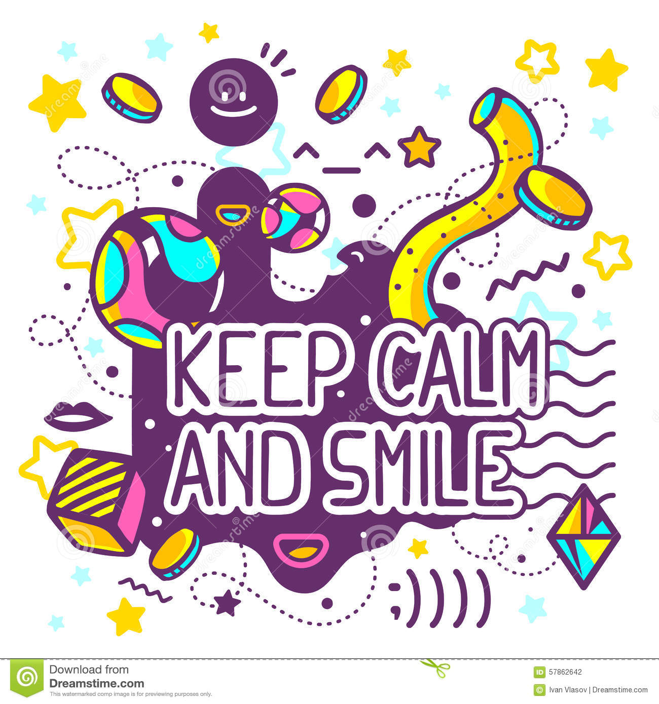 Keep Calm And Smile Quotes: Vector Illustration Of Bright Keep Calm And Smile Quote