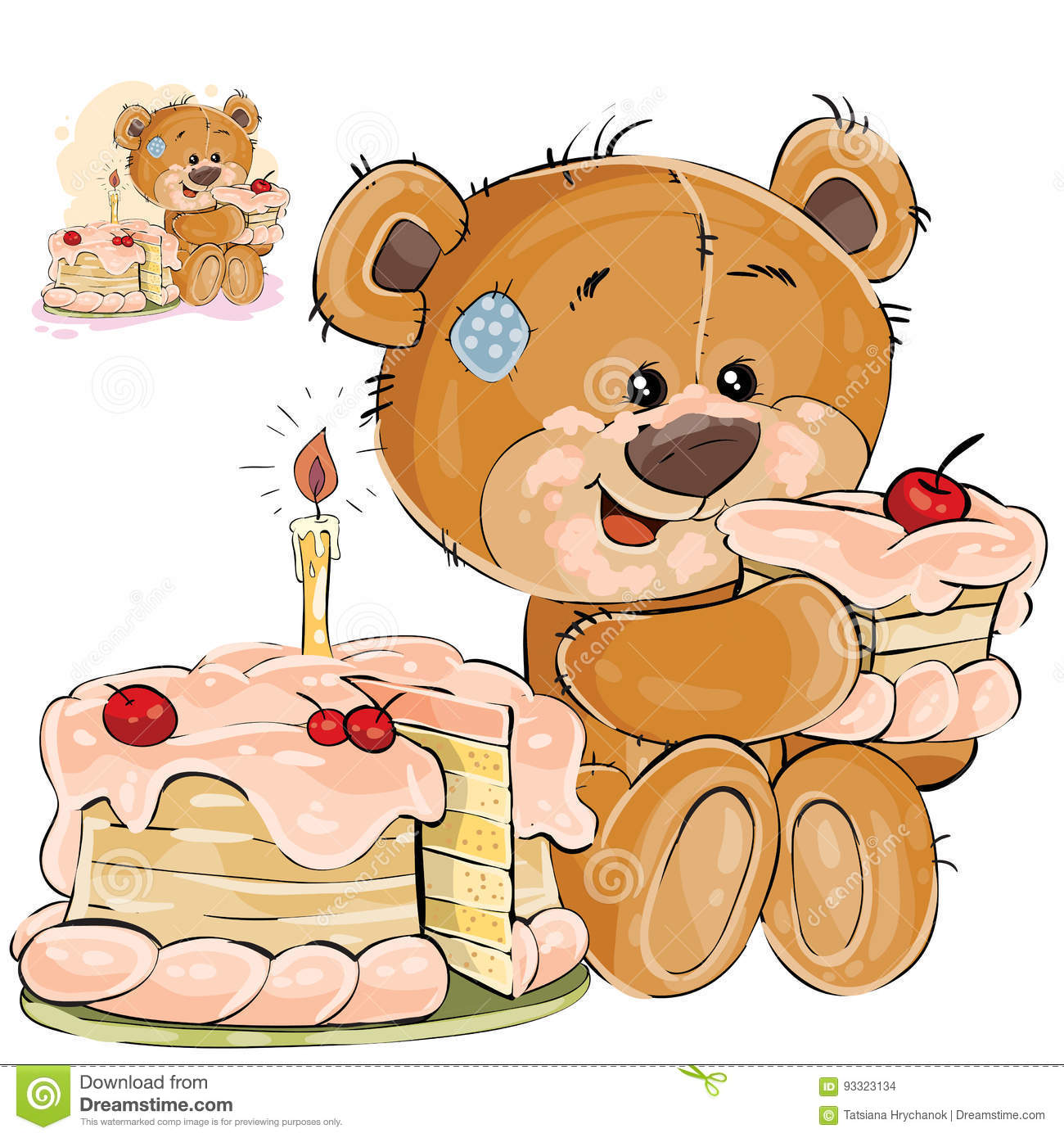 Vector Illustration Of A Brown Teddy Bear Sweet Tooth Eating A