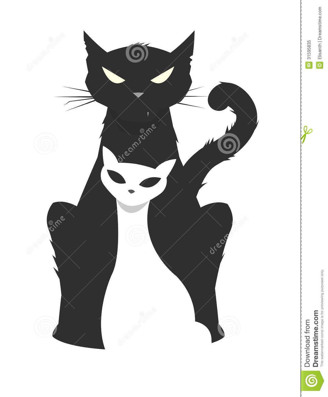 Vector illustration of a brutal male cat protecting his fragile