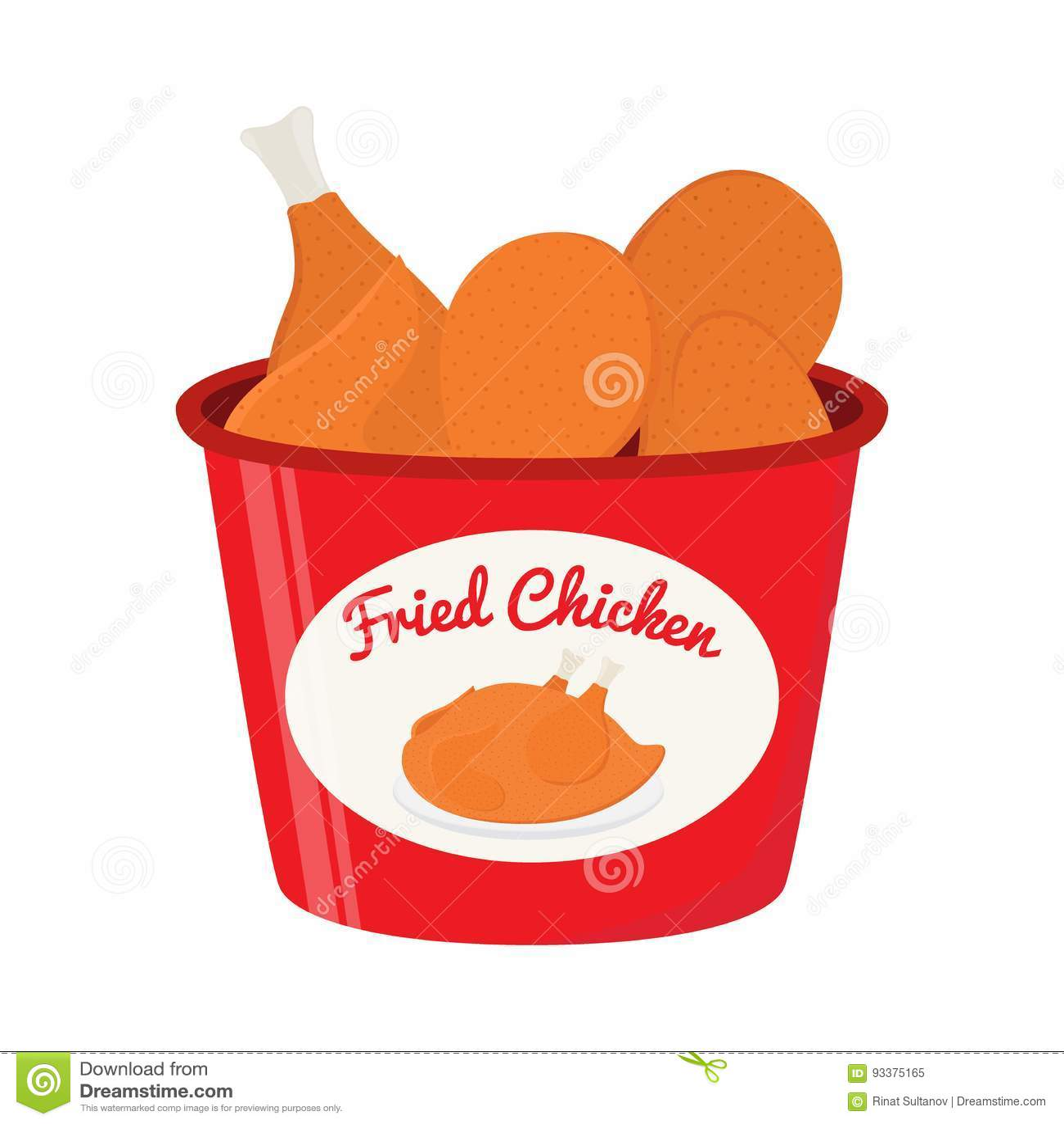 Vector Illustration Of Bucket Of Fried Chicken Tasty Fast Food