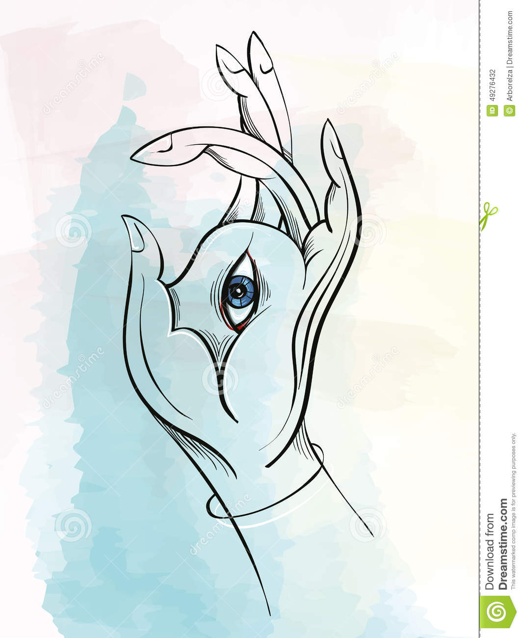 Vector Illustration Of The Buddha's Hand With Eye Stock ...