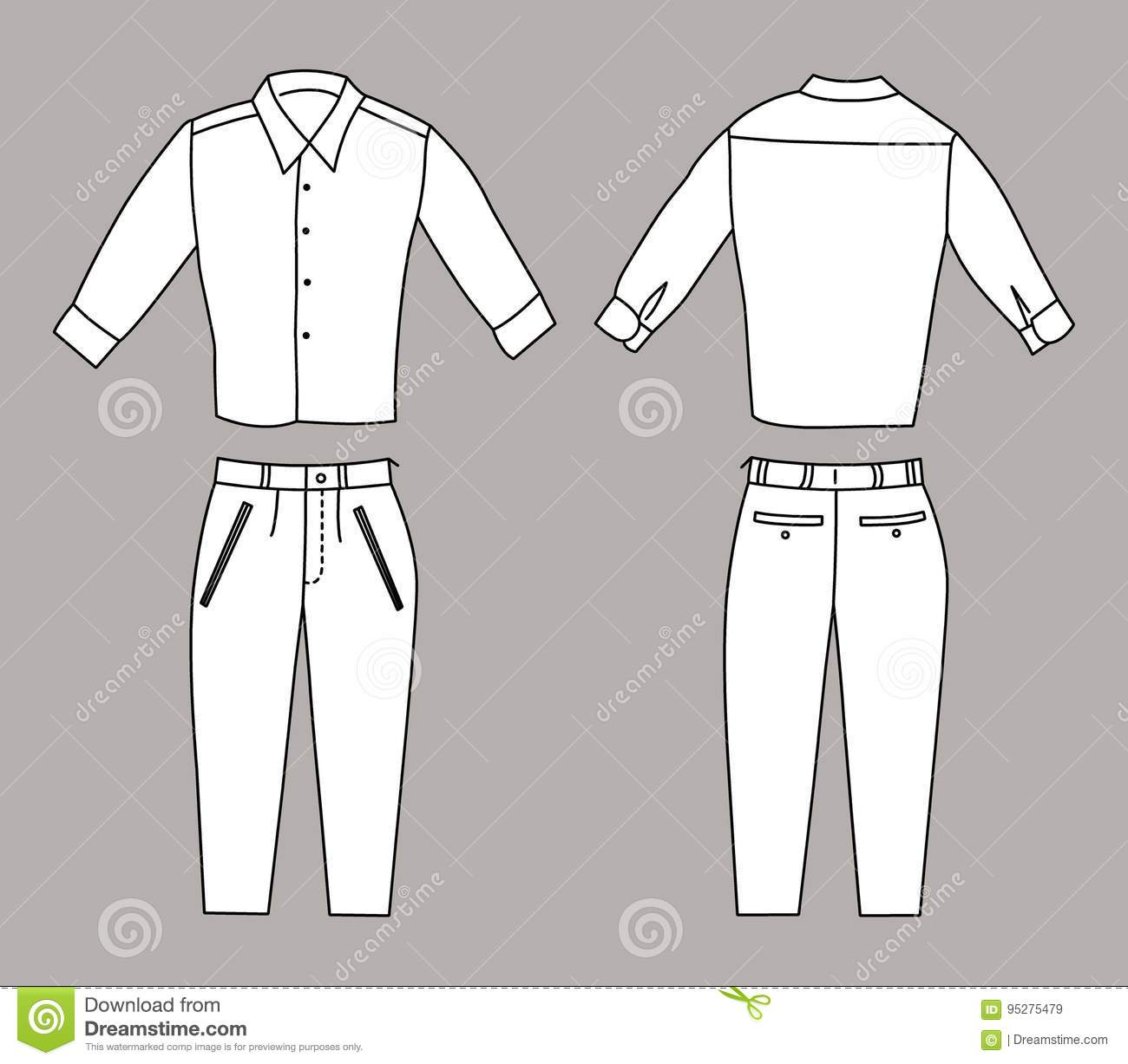 vector illustration of business shirt and pants front and back views