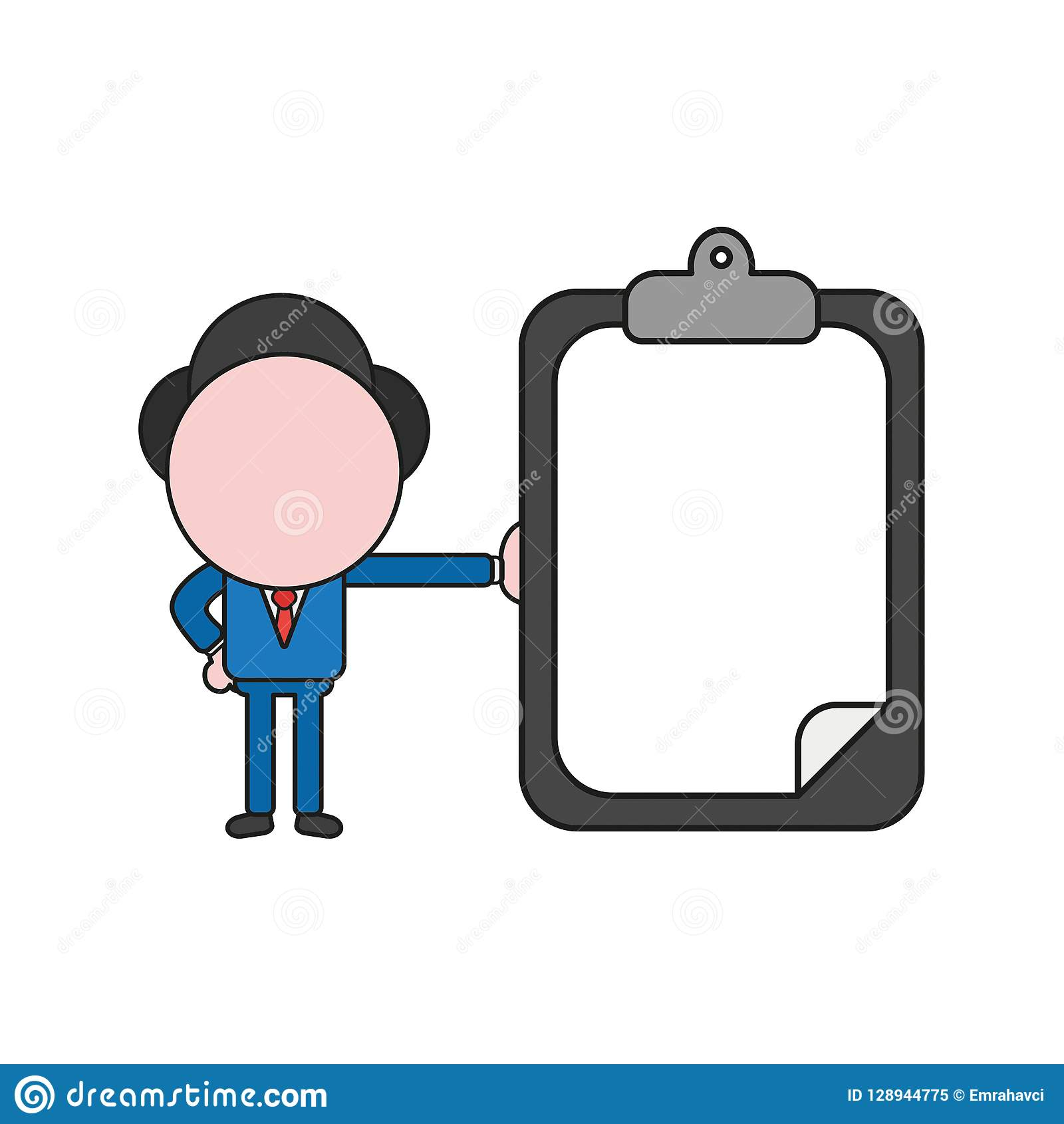 Vector illustration of businessman character holding clipboard w
