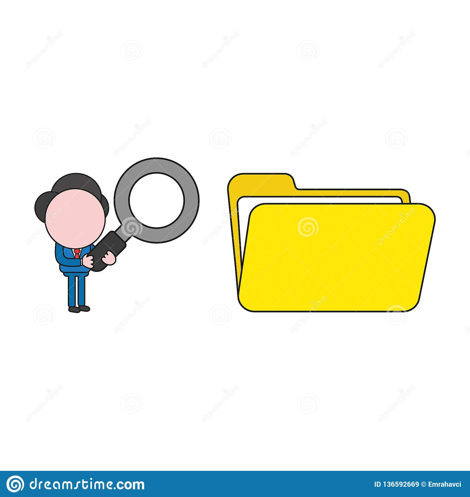 Vector illustration of businessman character holding magnifying glass to opened file folder. Color and black outlines