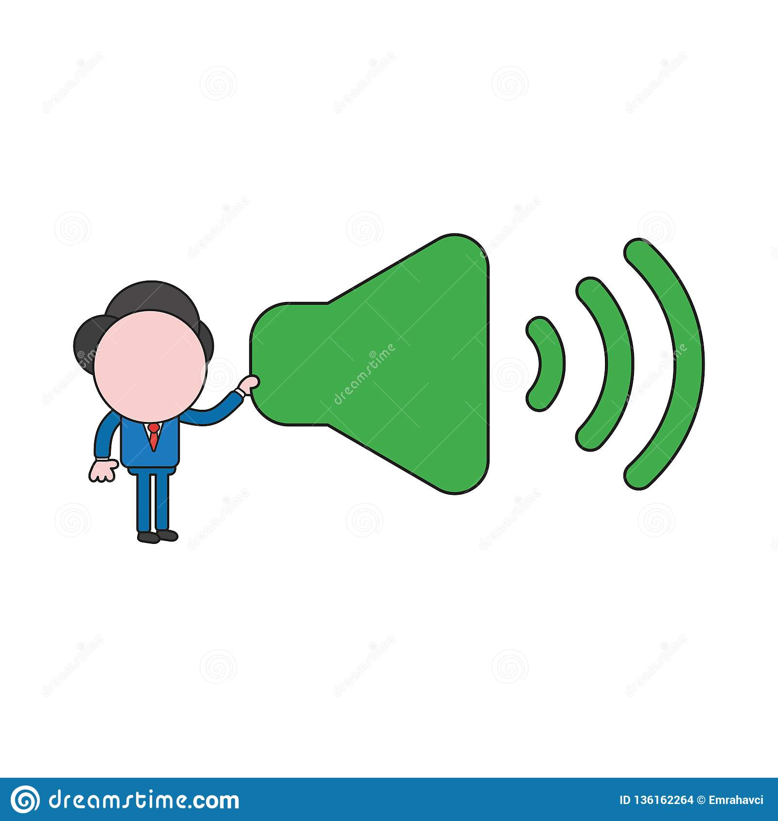 Vector illustration of businessman character holding sound on symbol. Color and black outlines
