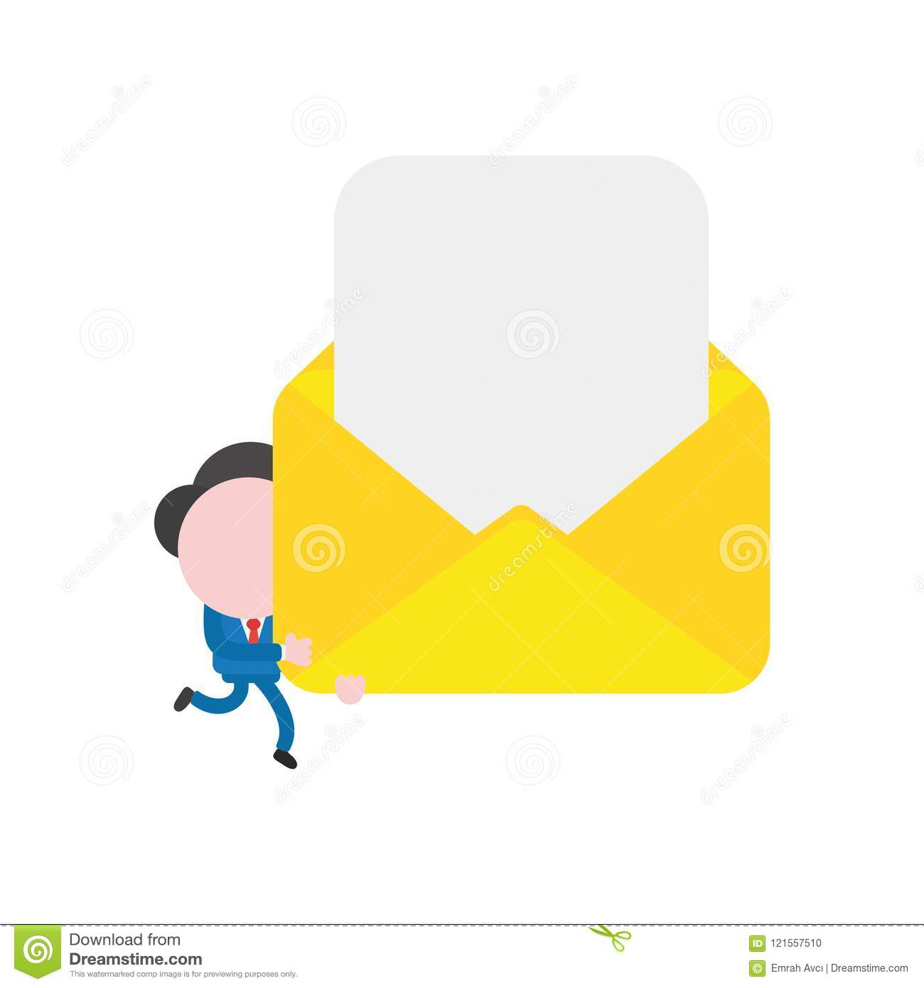 Vector businessman character running and carrying blank paper in